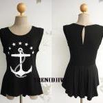 The Anchor Asymmetric Hem Women T-Shirt (Black)