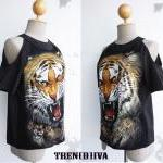 The Tiger Open Shoulder Cool Blouse Size XS-S