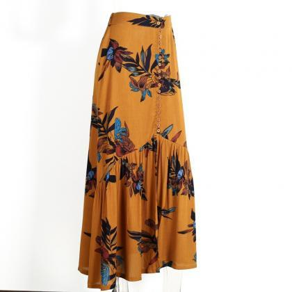 Vintage Floral-Print Mustard Maxi S..