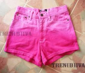 High Waisted Pink Shorts Cool Gradient Pink Shorts