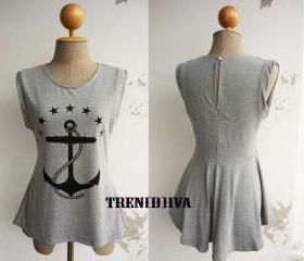 The Anchor Asymmetric Hem Women T-Shirt (Light Gray)