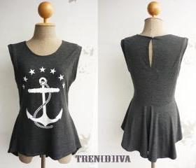 The Anchor Nautical Asymmetric Hem Women T-Shirt (Dark Gray)