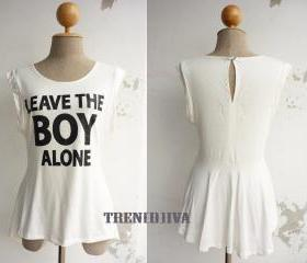Leave the Boy Alone Asymmetric Hem Women T-Shirt (white)