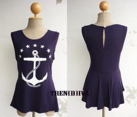 The Anchor Nautical Asymmetric Hem Women T-Shirt (Navy)
