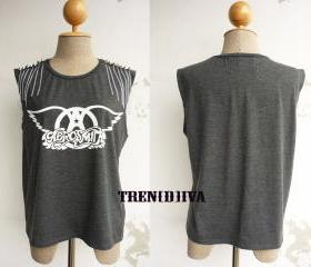The Aerosmith D.I.Y Peace Stud Chain T-Shirt (Dark Gray) Free Size