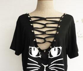 The Cat Women Cool Stud T-Shirt (Sexy Black)