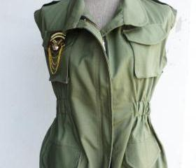 Military Sleeveless Jacket Unisex Free Size (Military Green)