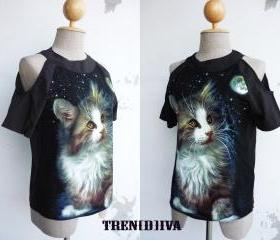 The Cat Open Shoulder Cool Blouse Size XS-S