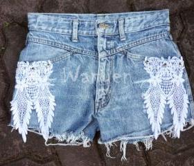 Hippie Lace Shorts with Stud Upcycled Destroyed Denim Shorts Lace Shorts Jeans Denim Shorts