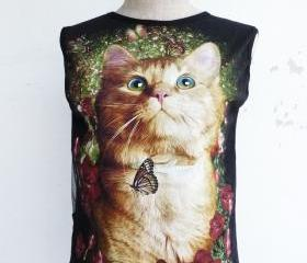 The Cat Sleeveless Back See Through Cool T-Shirt -XS-S-
