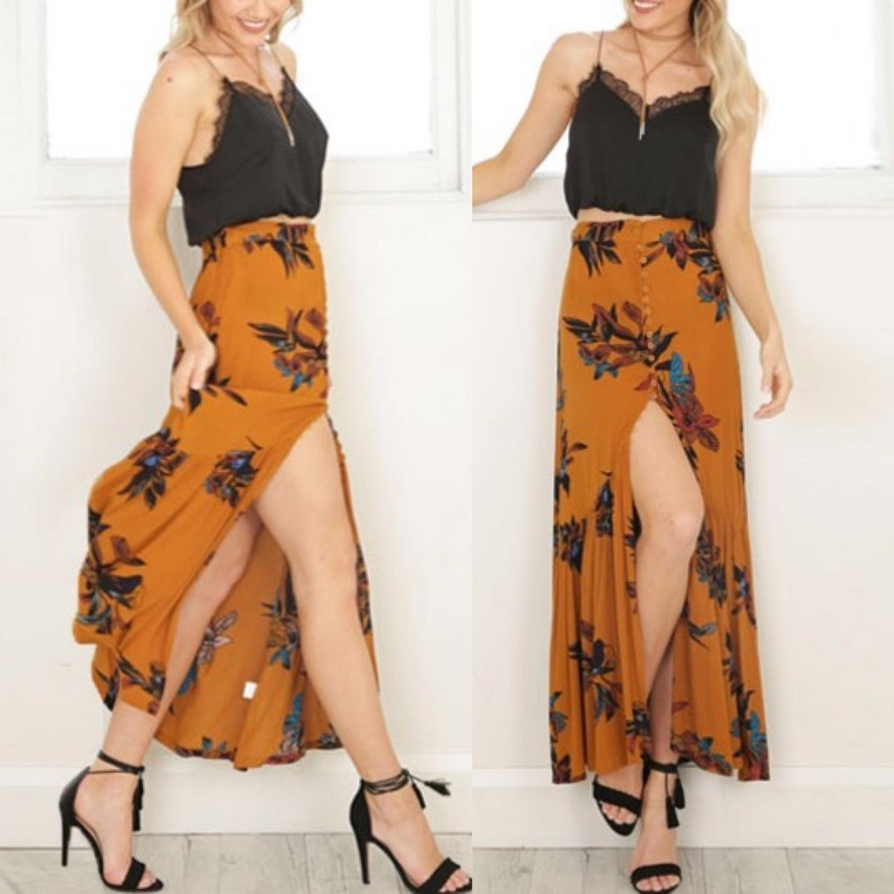 Vintage Floral-Print Mustard Maxi Skirt with Button Down Detail and Side Slit