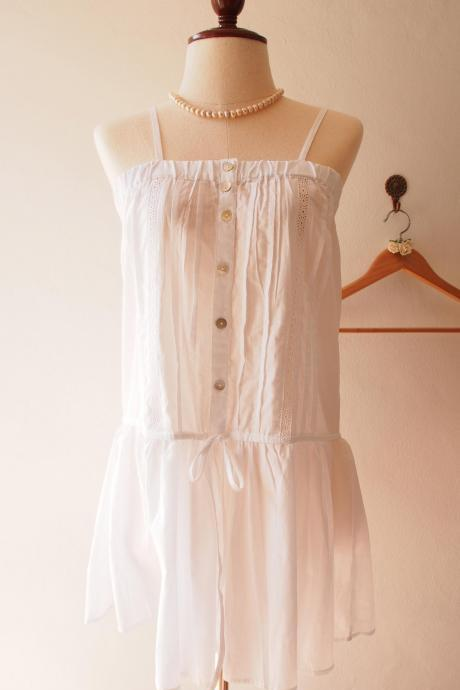 White Beach Tunic Blouse Pure Cotton Boho Bohemian Spaghetti Strap Tops Preppy Beach Summer Time - (Free Size US2-US8)
