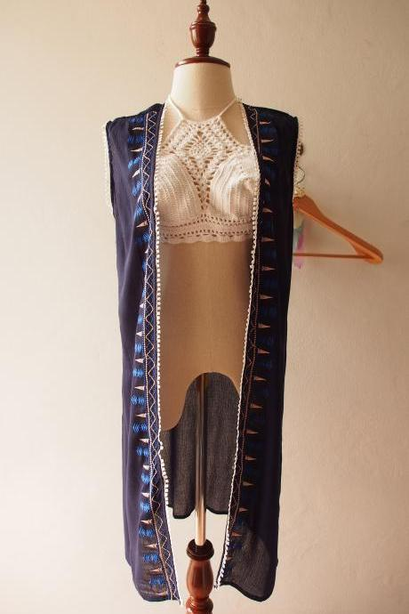 Navy Embroidery Cardigan Boho Ponchos Hippie Style Long Cardigan Free Size