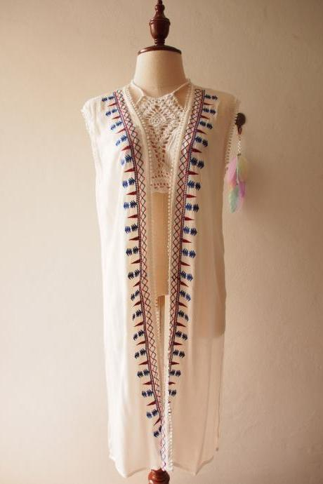 Cardigan White Embroidery Top Boho Bohemian Style Blouse