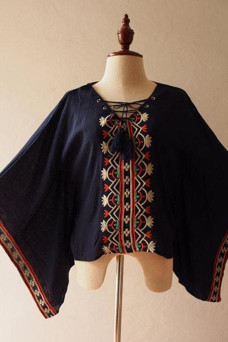 Navy Embroidery Poncho Top Boho Hippie Style Blouse Shirt